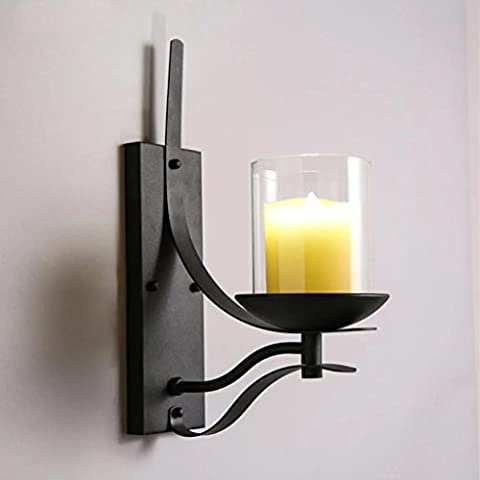 Moderno e minimalista luci parete camera da letto vetro trasparente industriale single-testa nera in ferro battuto candela parete sconce