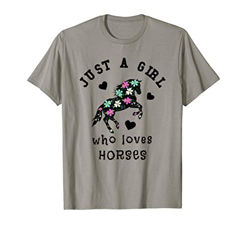 Just A Girl Who Loves Horses Floral Women T-Shirt Crazy Horse Riding Apparel