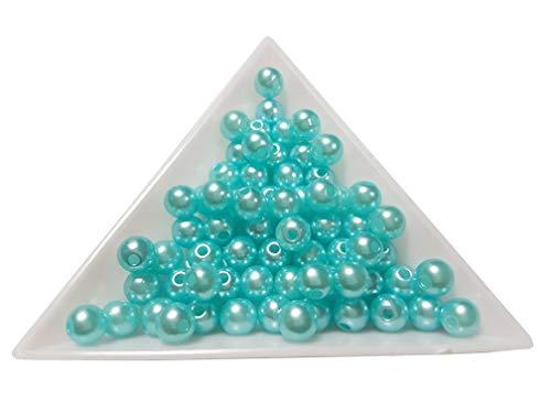 100 Wachsperlen 6mm Kunststoff Acryl Perlen Tischdeko Hochzeit Rund Drahtsterne Streudeko Perlmutt Perlensterne Basteln Wachs-Perlen Farbauswahl (Türkis Blau) (Kunststoff-perlen-halskette Blaue)