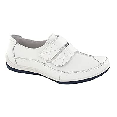 Ladies Down To Earth Flat Twin Velcro Strap Shoes - White Leather - UK Size 4 - EU Size 37 - US Size 6