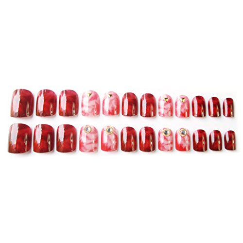 Lot de 24 faux ongles en acrylique pour faux ongles à couverture complète