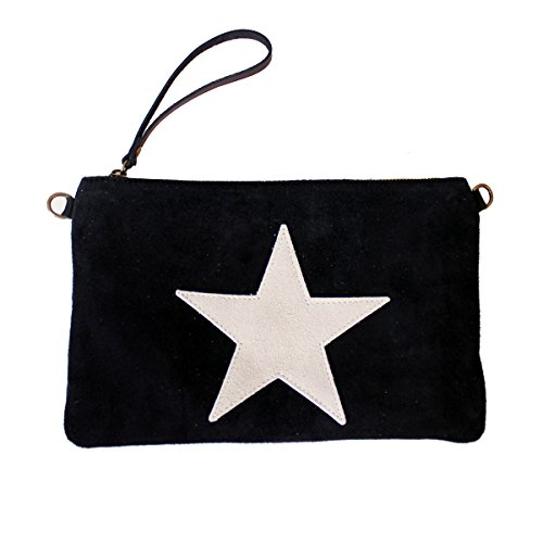 Sacoche Sac à main Fabriqué en Italie Clutch étoile Daim Noir
