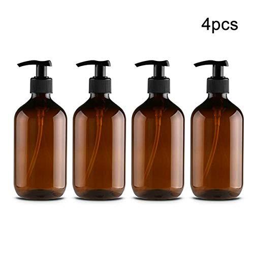 Kitchnexus 4 Stück 500ml Seifenspender Lotionspender Leer Flasche mit Schwarz Lotion Pumpe Spender Ideal für Küche Bad -