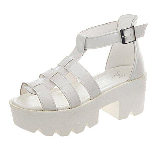 Minetom Senhoras Planalto Sandálias Sandálias Romanas Com Gladiador Saltos Bloco De Verão Sapatos Brancos