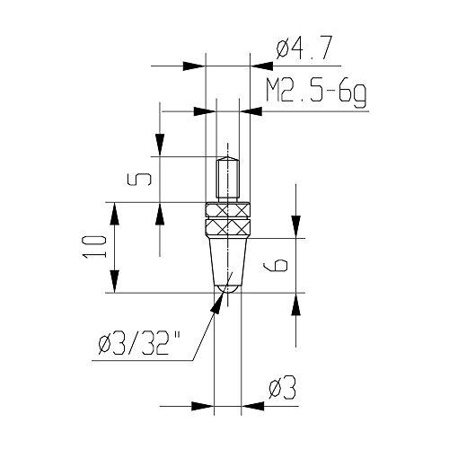 Messeinsatz für Messuhr Ø 3,0 mm Typ: 112 Hartmetallbestückt 573/21 H kugglig, für Tiefenmessgeräte, Gewicht: 0.01