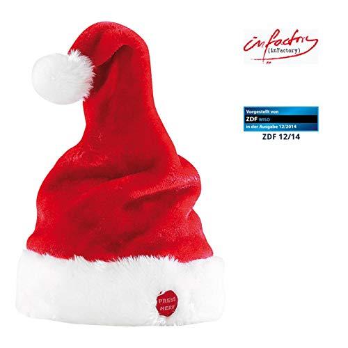 infactory Singende Weihnachtsmütze: Singende und tanzende Nikolausmütze (Zipfelmütze die sich bewegt)