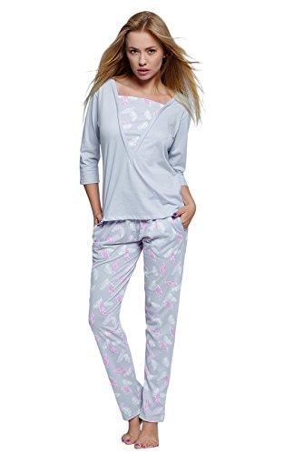 Sensis stillvoller Baumwoll-Pyjama Schlafanzug Hausanzug aus Elegantem Shirt und Langer Hose, Made in EU (S (36), grau mit Federn)