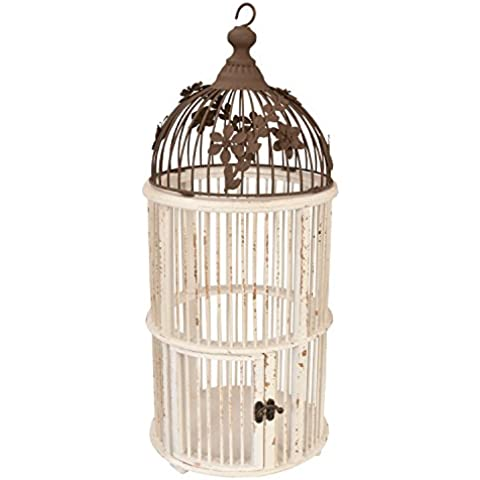 Clayre & Eef 62218–Jaula de Pájaros–Birdhouse–También para plantas o flores–blanco CA. Ø 9,4x 21,3cm
