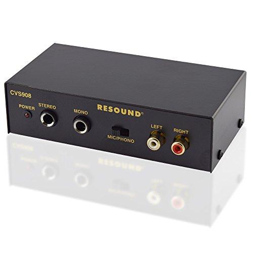 Kleiner Audio Vorverstärker mit 6,3mm 1 Mono 1 Stereo Klinke AUX IN Out und 2 Cinch Anschluss inkl. Netzteil