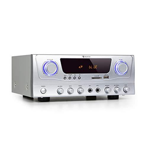 auna Amp-2 BT Amplificador HiFi- 2 x 50 W de Potencia, Bluetooth, Conector USB, 3 entradas de micrófono con regulador, Ranura SD/MMC, sintonizador FM, Entrada AUX y de DVD, regulador de Graves, Negro