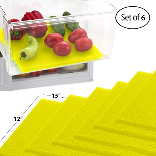 Debbie Meyer Green (Dualplex Früchte- und Gemüse-Lebensverlängerung für Kühlschrank/Schubladen (6 Stück) - verlängert die Lebensdauer Ihres Produktes bleibt frisch und verhindert Verschütten, 30,5 x 38,1 cm (gelb))