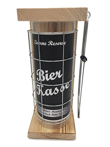 Bierkasse Eiserne Rerserve Spardose icl. Bügelsäge zum zersägen des Gitters Geldgeschenk Sparbüchse Geschenk zum Geburtstag, das ausgefallene lustige witzige originelle Sparbüchse Spardose für - Spardose Bier