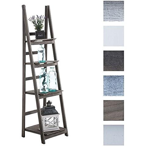 CLP Estanteriá en escalera de madera plegable ALMA, 4 áreas de almacenamiento, elegir de hasta 6 colores, uso en varios rincones de la casa marrón