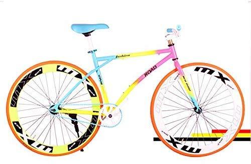 WJSW Rennrad, Farbiger Kohlenstoffstahl 26 Zoll Fixed Gear Hinterradbremse Student Bike Rennrad