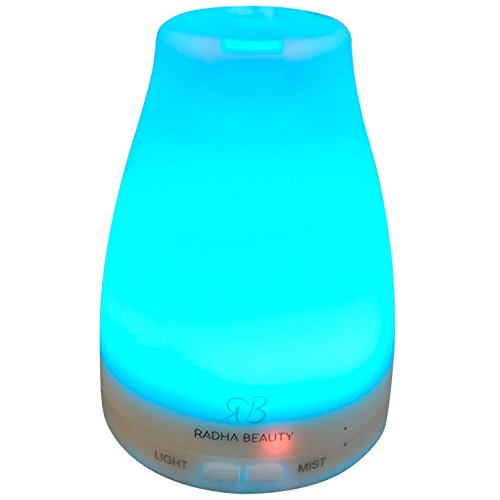 Radha Beauty Essential Oil Diffuser for Aromatherapy - 120 ml Premium Essential Oil Cool Mist Humidifier with changing Colored LED Lights, Waterless Auto Shut-off and Adjustable Mist mode