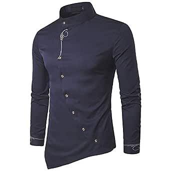 Pearl ocean Men's Jeevaan Cotton Plain Solid Slim Fit Shirt (Blue, Medium)