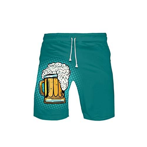 WOZOW Cargo Shorts Kurze Hose Damen Herren Casual Loose Boho Hawaii Oktoberfest Bierfest Print Muster Bedrucktes Lustig Kostüm Midi Beach Freizeithose Stoffhose High Waist Trouser (XL,Minzgrün) (Karotte Kostüm Muster)
