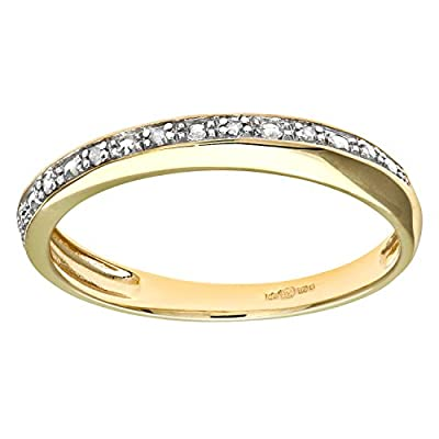 Naava 9ct Yellow Gold Diamond Pave Set Crossover Effect Half Eternity Ring