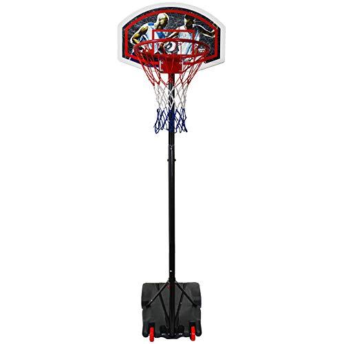 Best Sporting Basketball-Ständer, höhenverstellbar, wetterfest, Basketballkorb mit Rollen (schwarz, 205), 205 cm