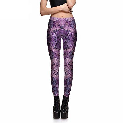 Oil Painting Purple Leaves Leggings Pants Trousers Stretch Pants