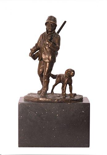 Ellas-Wohnwelt Jäger mit Hund Bronze Statue Mann mit Schrotflinte und Hund auf Marmorsockel