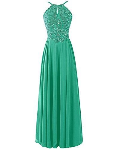 Dresstells, Robe de soirée Robe de cérémonie Robe de gala emperléedos nu bretelles spaghetti Vert