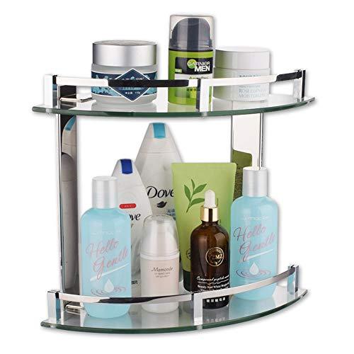 WYMNAME 2-tier Bad dusche regal dreieck, Edelstahl Glas Badezimmer Regal Badezimmer regale wandmontage Regal-H:26.4cm(10.4in) -