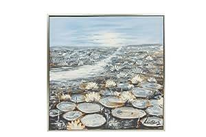 Dipinto a olio con cornice paesaggio laghetto con ninfee for Laghetto con ninfee