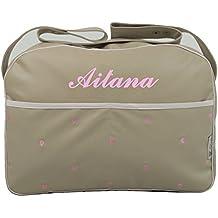 Maxi bolso para carrito de bebé BORDADO CON EL NOMBRE en ecopiel arena y detalles en varios colores