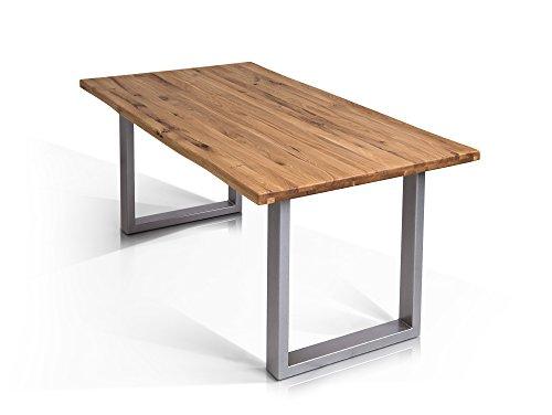 moebel-eins Tobago Baumkantentisch Esstisch Wildeiche Holztisch Massivholztisch Esszimmertisch Tisch Baumkante Metallfuß Edelstahlfarbig lackiert 160 x 90 cm, 160 x 90 cm