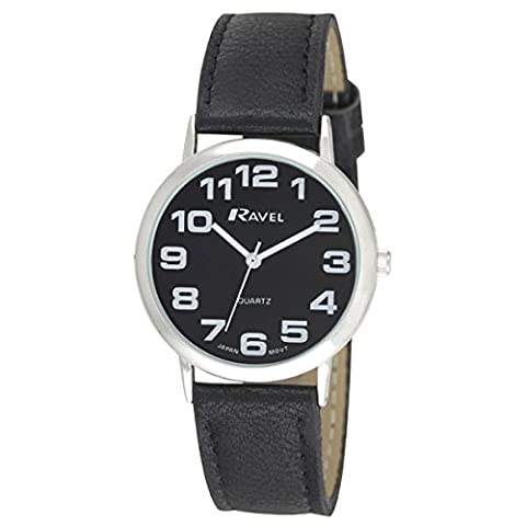 LADIES RAVEL LARGE EASY READ BLACK WATCH. EXTRA LONG STRAP 16-21cm. BIG CHROME CASE 4cm