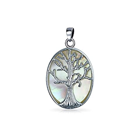 Bling Jewelry .925 Sterling Silver Reversible Mother of Pearl Tree of Life Pendant Necklace 18