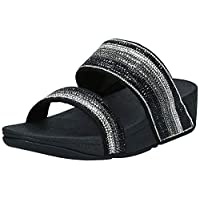 FITFLOP Rosa Crystal Mosaic Slides, Women's Fashion Sandals - Black (All Black), 4 UK (37 EU)