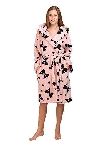 Frauen Damen Nachtwäsche Nachtwäsche Bogen Umarmung Supersoft Bademantel mit Taschen, verschiedene Farben & Größen Rosa