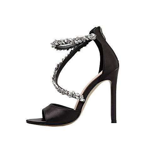 LILIGOD Elegante High Heels für Damen Mode Frauen Schuhe Party Hochzeit Sexy High Sandals Spitz Strass Sandalen Schwarz Feiner Absatz High Heels Bar Nachtclub Schuhe Pumps