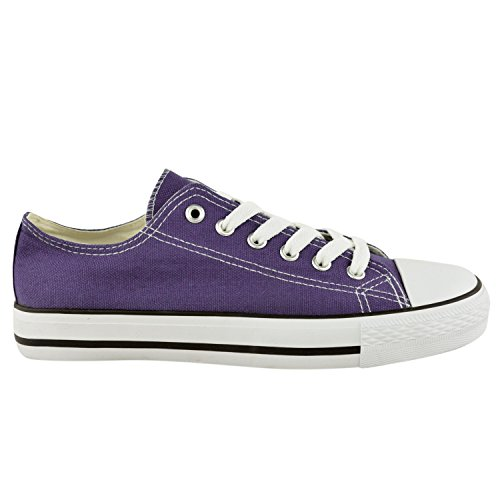 Ladies Womens Canvas Lace Up Plimsoll Flat Gym Shoes Sneakers Trainer Pumps Size (Uk 7 Eu 40 Us 9, Purple Lilac)