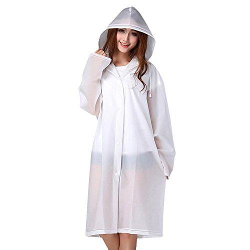 TININNA Erwachsene tragbare leichte transparente EVA Regenbekleidung wiederverwendbare Regenmantel Regen Poncho mit Kapuzen Ärmel (Weiß)