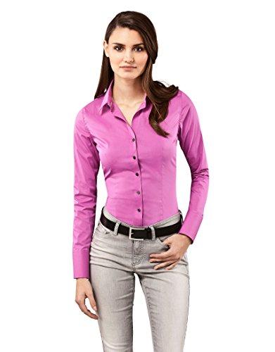 Vincenzo Boretti Damen Bluse besonders tailliert mit Stretch Langarm Hemdbluse elegant festlich Kent-Kragen auch für Business und unter Pullover violett 36 -