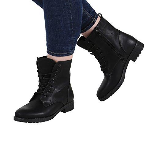 Gefütterte Damen Schnürstiefeletten Profil Sohle Stiefeletten Gr. 36-42 Schwarz