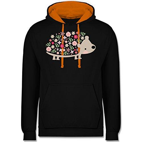 Ostern - Süßer Igel - Frühlingstiere mit Blumen - Kontrast Hoodie Schwarz/Orange