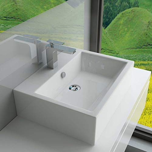 Waschbecken Einbauwaschbecken Keramik Eckig Waschtisch Becken mit Überlauf WS64 Keramik BxTxH: 52x41x16 cm