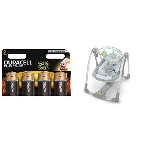 Duracell Plus Power Typ D Alkaline Batterien, 4er Pack + Ingenuity, Baby Schauzel Tragbar Swing and Go - Hugs & Hoots