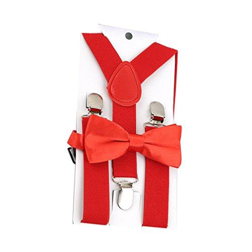 Chinget Kinder Jungen Mädchen Hosenträger Elastisch Einstellbare Braces Clip-On mit Fliege Set (Rot)