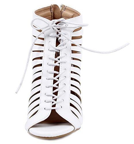 AgeeMi Shoes Damen Rund Offener Zehe Schnüren StilettoRiemchen Sandalen Weiß