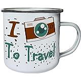 Nueva Cámara De Fotos De Viajes I Love Retro, lata, taza del esmalte 10oz/280ml l706e