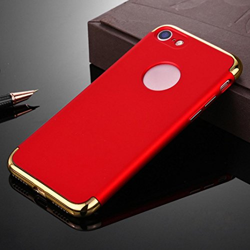 Ouneed® Hülle für iphone 7 4.7 Zoll , Luxury thin Electroplate Hard Back Case Cover für iPhone 7 4.7 Zoll (4.7 Zoll, Schwarz) Rot