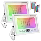 Olafus 2 Pezzi 35W Faretto LED Esterno RGB 16 Colori e 4 Modalità Funzione di Memoria Dimmerabile con Telecomando Proiettore LED Colorato IP66 Impermeabile Per Natale Halloween Festa Giardino