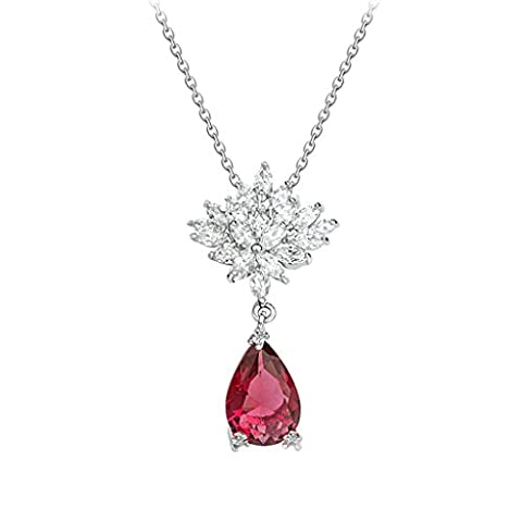 Aooaz Womens Necklace, Silver Plated Pendant Necklace Red Amaryllis Crystal