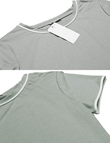 ADOME Damen Schlafanzug Kurzarm Baumwolle Shorty Hose 2tlg Pyjama set Tops Nachtwäsche Shirt Shorts Sommer Nachthemd Schwarz/Grau/Lila S-XXL Grau
