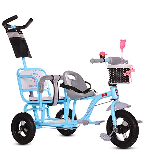 Unbekannt GUO@ Kinder Dreirad Doppel Kinderwagen Zwillingswagen Baby Tragbare 1-3-6 Jahre Alt GroßE Kinderwagen Titan Leere Rad Mit Schiebegriff